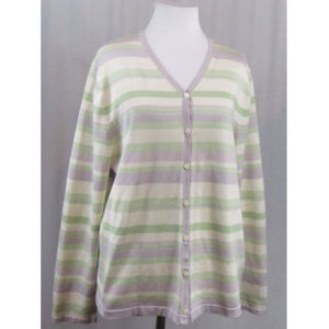 Pendleton Striped Silk Blend Cardigan XL FLAW
